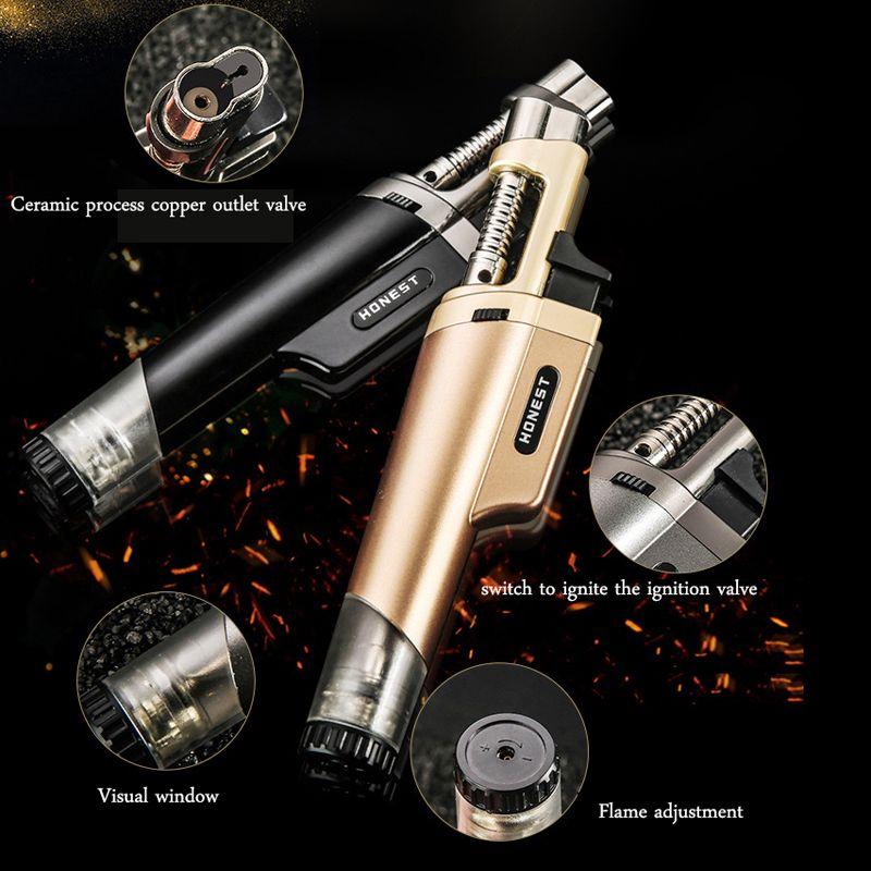 Gaz allume-cigare rechargeable torche au butane coupe-vent Jet flamme Cigarette Lighters Accessoires fumeurs