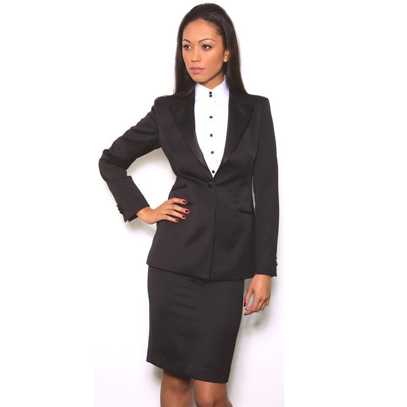 Jupe noire élégante Costumes travail Tenue de soirée Ensemble 2 pièces Femmes d'affaires costumes Bureau Blazer Femme Uniforme Un bouton personnalisé