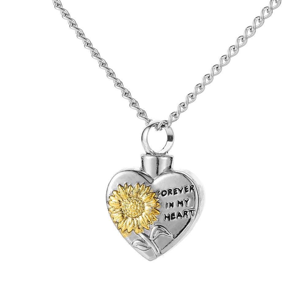 Любовь Подсолнечное Урна Урна ожерелье кулон ожерелье Мемориальная Кремация ювелирные изделия По памяти Дом