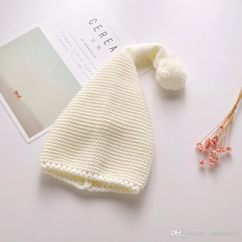 Kids Knitting Christmas Hat Candy Knit Big Ball Cute Warm Autumn and Winter Hat Solid Color Elf Long Tail Cap 903X30