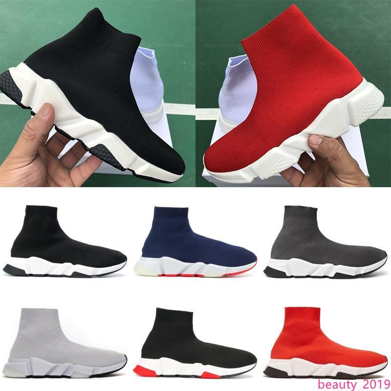 Günstige Plattform Speed Trainer der Frauen der Männer Socken Schuhe Schwarz Weiß Rot Männer Frauen Top-Qualität Mode-Luxusdesigner Turnschuhe Freizeitschuhe