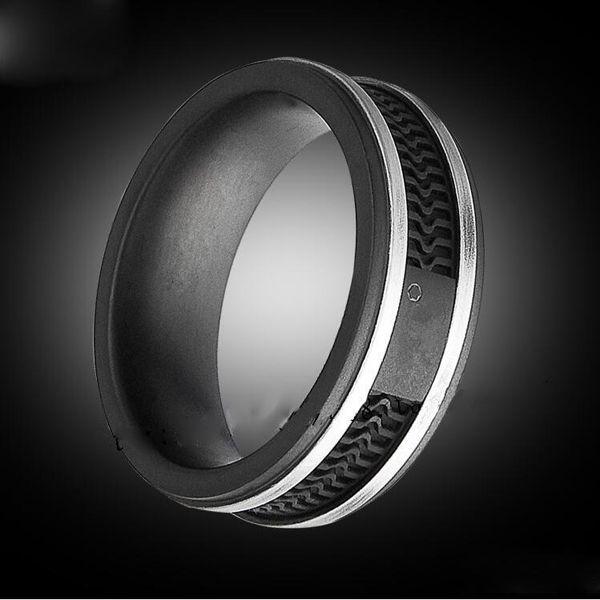 Mode anneaux de couleur noire, Femmes / Hommes Titane acier inoxydable grande taille Bijoux --- Taille 6 à 12
