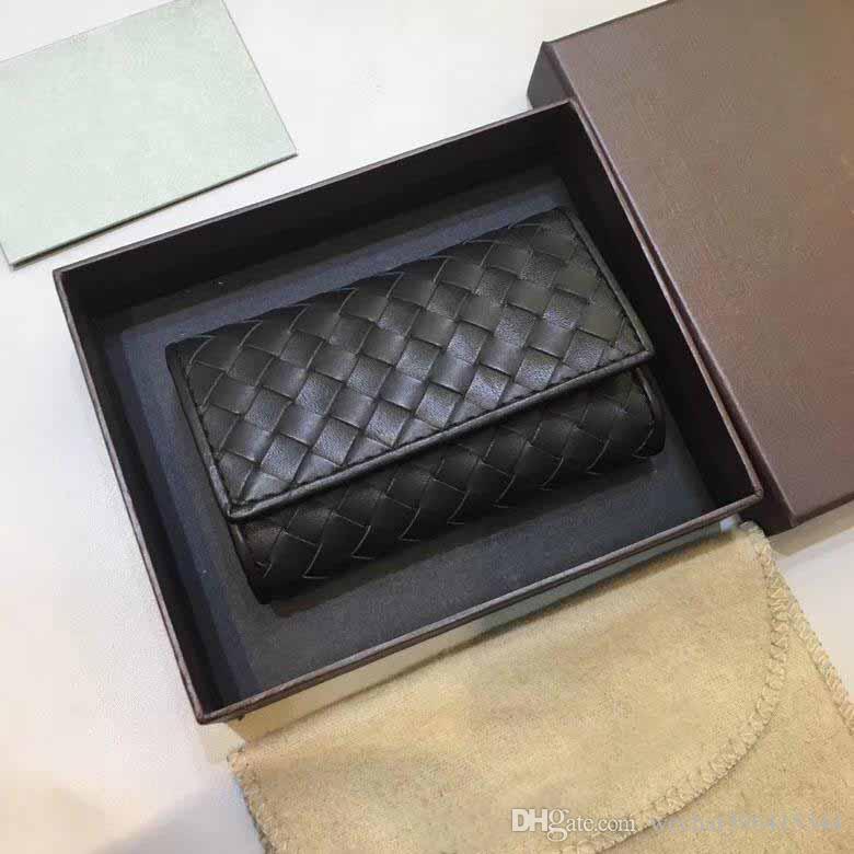 HOT original box luxury real leather Knitting key purse date code short wallet Card holder women man classic hasp pocket purse key wallet