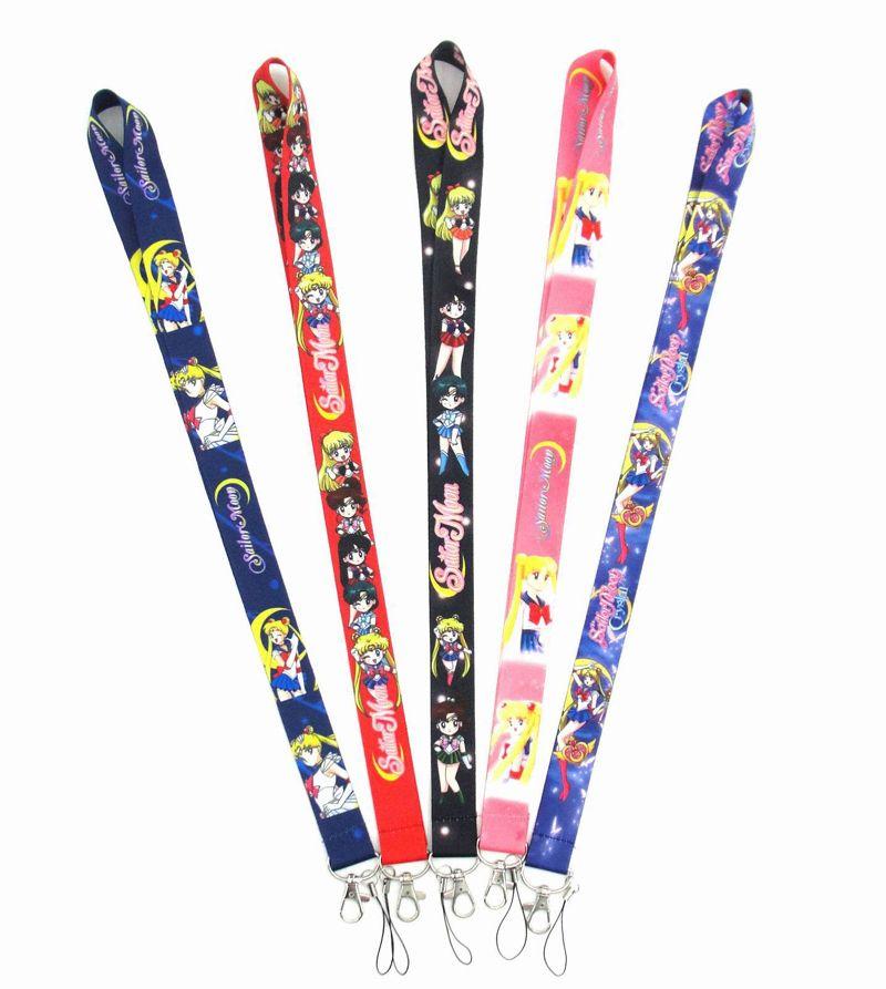 100 piezas nuevas animado de Sailor Moon Cosplay clave cuerda de seguridad Placa de identificación para tarjetas de visita correas del cuello del llavero del ciervo