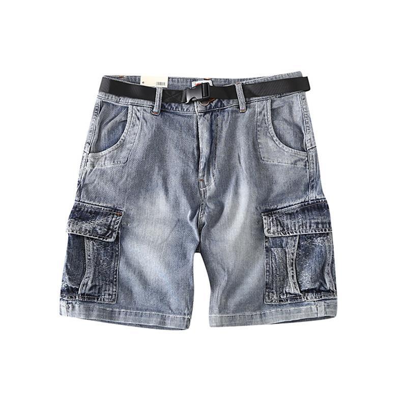 MORUANCLE desgaste del trabajo del mens retro Jeans Pantalones cortos de Carga Con múltiples bolsillos Vintage Washed táctico pantalones cortos de mezclilla: Hombre con la correa