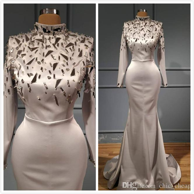 Aso Ebi 2020 Arabic Ivory Sexy Mermaid Evening Dresses Beaded Crystals Prom Dresses High Neck Formal Party Second Reception Gowns ZJ404