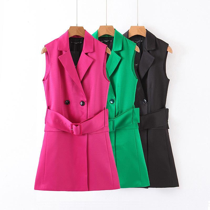 벨트와 여성 패션 숙녀 재킷 칼라 슬림 맞추기 더블 브레스트 조끼 재킷