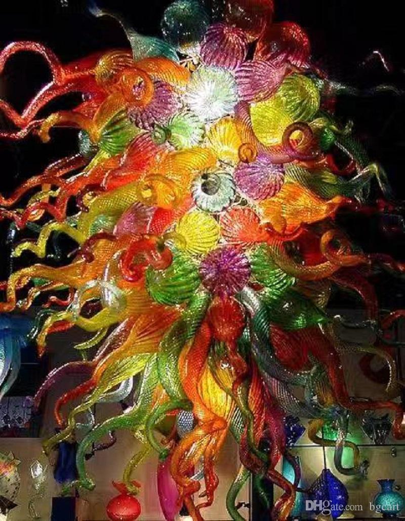 في مهب عالية الجودة زجاج الروسية الكروم سقف مصباح زهرة تصميم مدهش فاخرة بالجملة كريستال الثريا اليد الزجاج الثريا