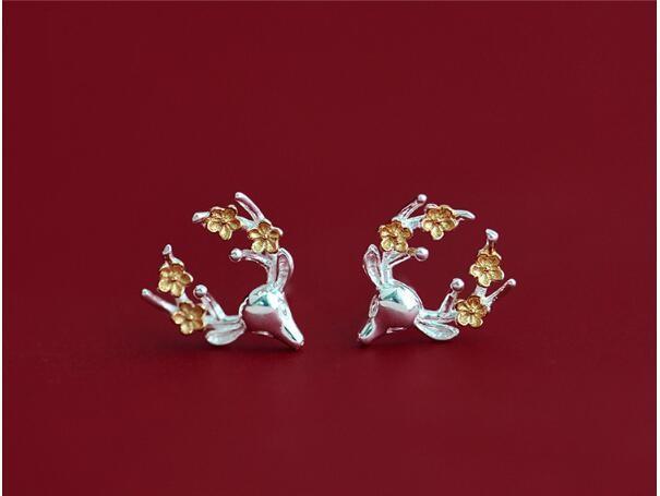 Toptan Gümüş 925 gümüş Noel Küpe Kadın Yaratıcı Küçük Elk Küpe Aksesuarlar Gifts206