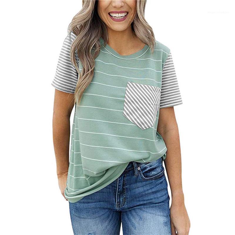 Crew Neck Tshirt Summer Casual Women Short Sleeve Clothes Female Striped Printed Tops Fashion Designer