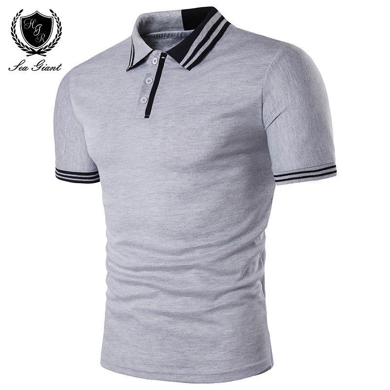 Été Nouveau Vêtements Chemise personnalité de la marque Short Bonnet Bouton Solide Chemises mâles Couture homme Design Deux hommes Polo mancheuse Couleur Polo Hieuh