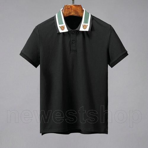 primavera roupas de grife verão para mens polo estilo clássico t-shirt tigre cor de retalhos bordados carta ocasional de abertura de cama colarinho tee shir
