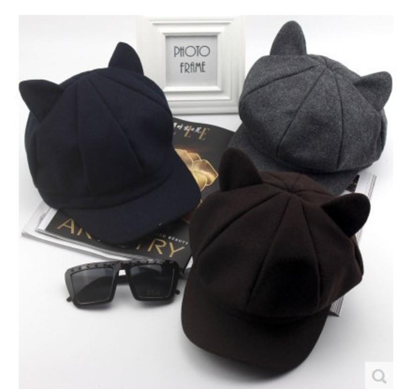 оружие милый кот ухо берет бейсболка газетчик шерстяная восьмиугольная шляпа