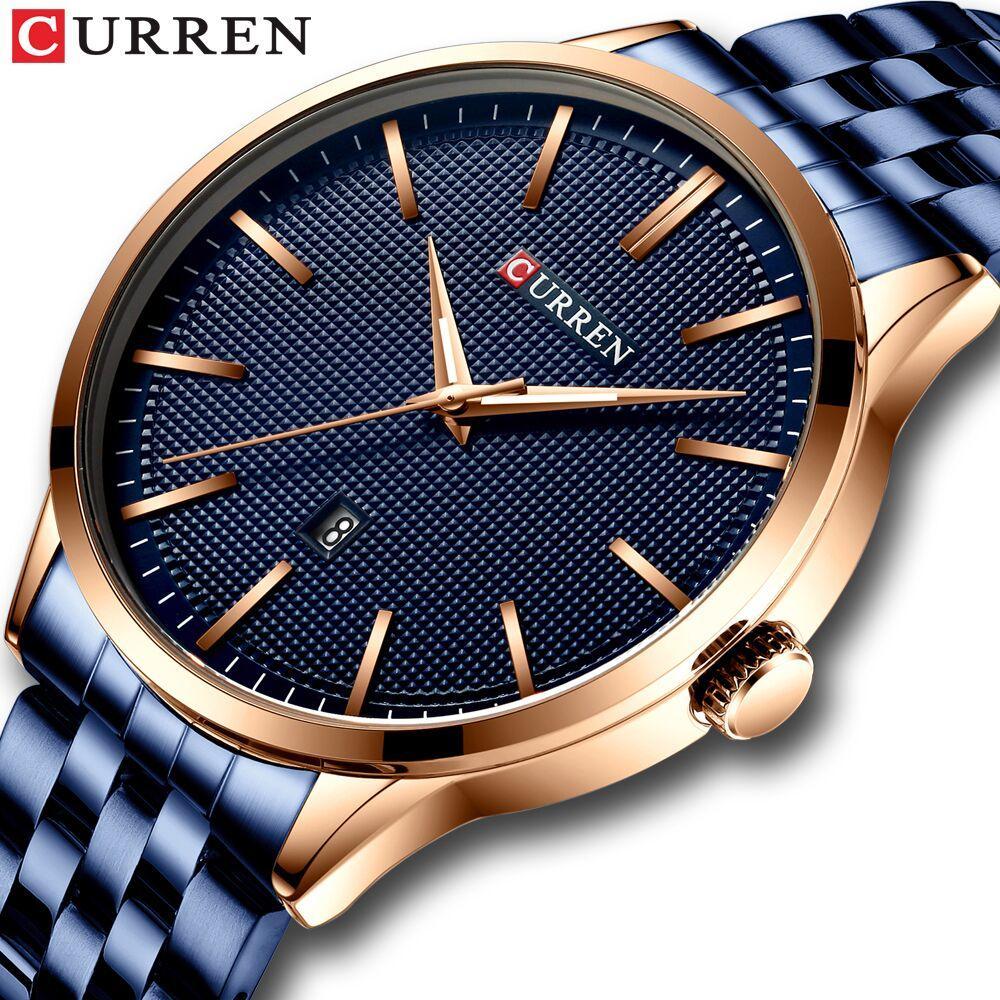 Mode-Quarz-Uhren für Männer CURREN New Herrenuhr Edelstahl-Band-Uhr Male Blue Armbanduhr Causal Business Watch