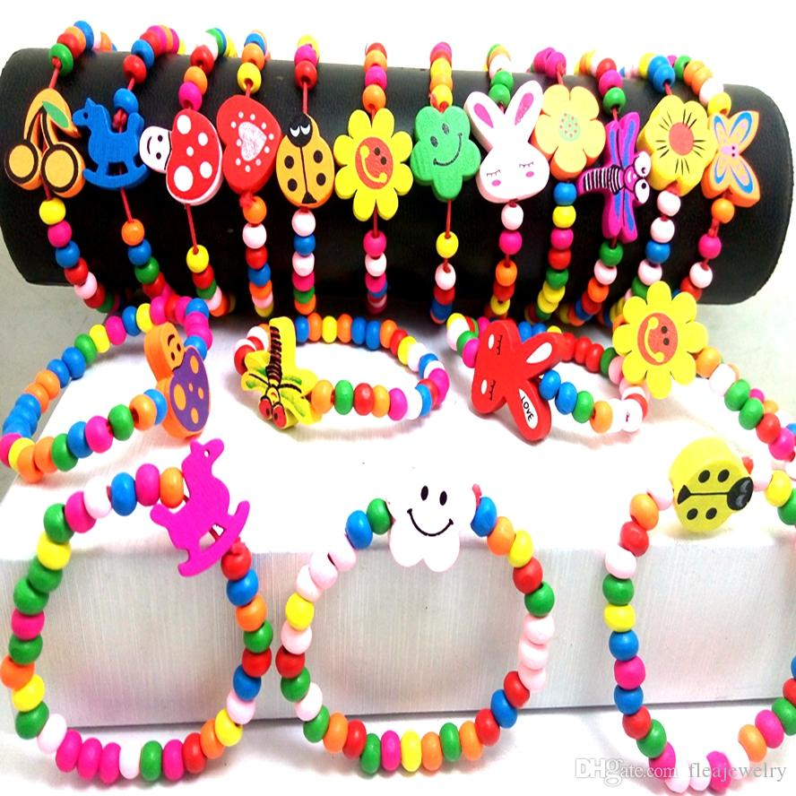Wholesale 30Pcs kids children wood beads party favor party bag fill wristbands bracelets birthday Gifts present
