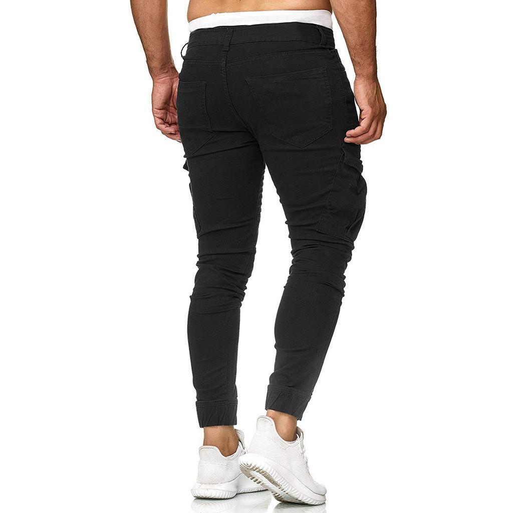 Moda Erkekler İnce Saf Renk Günlük Spor Dokuma Cep Dikiş Ayaklar Pantolon