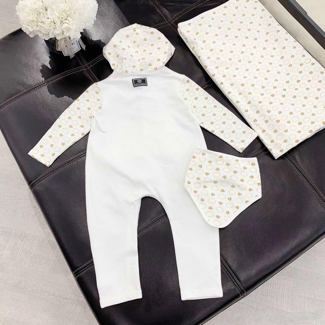Bambino appena nato di autunno della molla del cotone pagliaccetti tuta infantile sciarpa cappello 3pc / set delle ragazze del ragazzo Stampa maniche lunghe Pigiami
