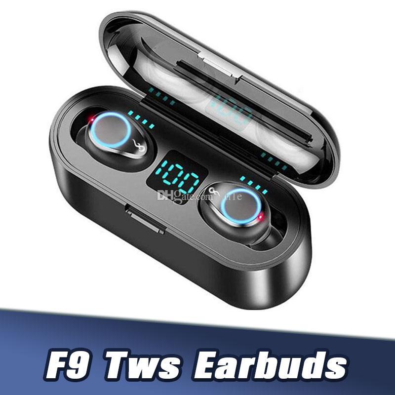 F9 5,0 LED écouteur sans fil Bluetooth TWS Affichage avec 2000mAh Power Bank casque avec microphone