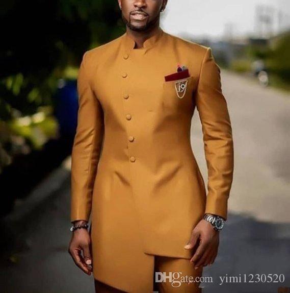El oro del collar del soporte Trajes trajes para hombre del novio Serge Terno Masculino Trajes de baile Slim Fit Dos Piezas Chaqueta + Pant alta calidad