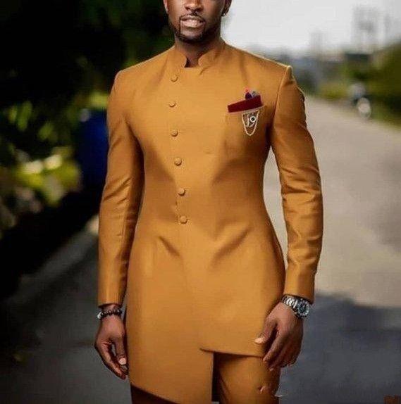 Ouro gola Ternos Mens Serge casamento do noivo Ternos Terno masculino Prom ternos Slim Fit Two Pieces Jacket + Pant Alta Qualidade