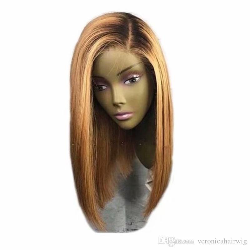 Moda 14inch breve parrucca bionda pizzo anteriore con dei capelli del bambino Glueless parrucche sintetiche calore Parte laterale resistente Parrucche Ombre Bob per le donne