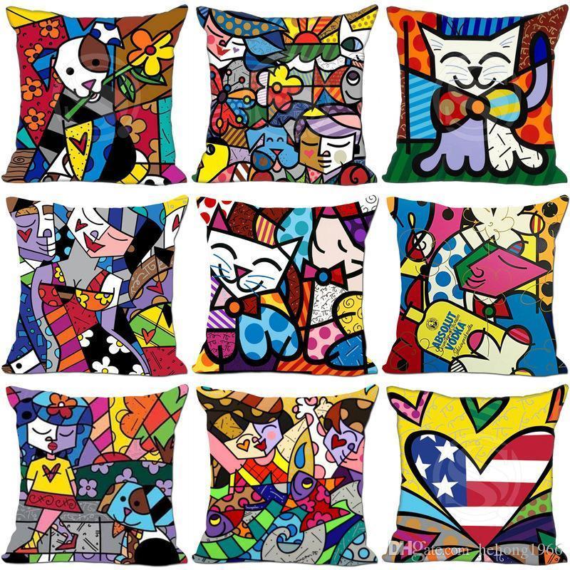 Karikatür Baskılı Yastık Kılıfı Moda Romero Britto Stil Ev Koltuk Dekor Yastık Kapak Pamuk Keten Satır 6my Ww