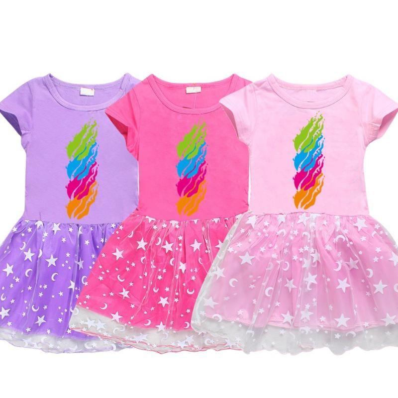 Princesa vestido para las muchachas del algodón de la Pequeña Kid ocasional del verano Una línea de fuego del color del caramelo Imprimir Estudiantes adolescentes ropa de los niños