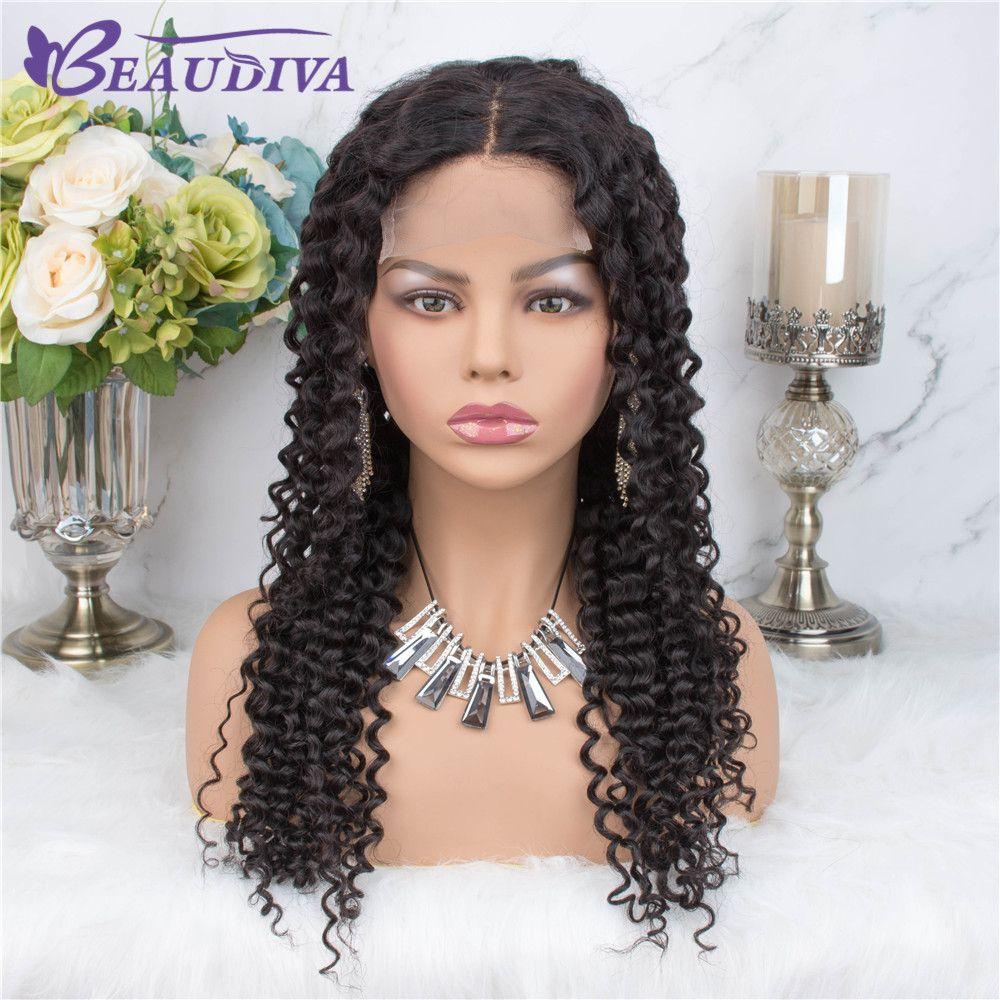 Beaudiva 4 * 4 Kinky Curly perruques de dentelle Moyen partie perruques de cheveux humains Pré plumé Hairline avec bébé cheveux brésilien dentelle perruques Curiy