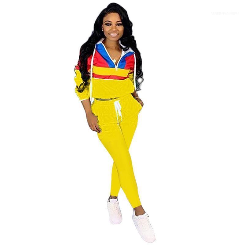 Mit Kapuze 2Pcs Satz-beiläufige Female Kontrast Farbe Sports Set Herbst-Frauen Panelled Tracksuits Womens Designer