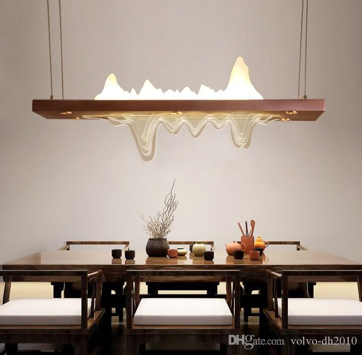 New Chinese Chandelier Modern Simple Restaurant Bar Lantern Zen Landscape Freehand Chinese Wind Rectangular Chandelier Lighting LLFA
