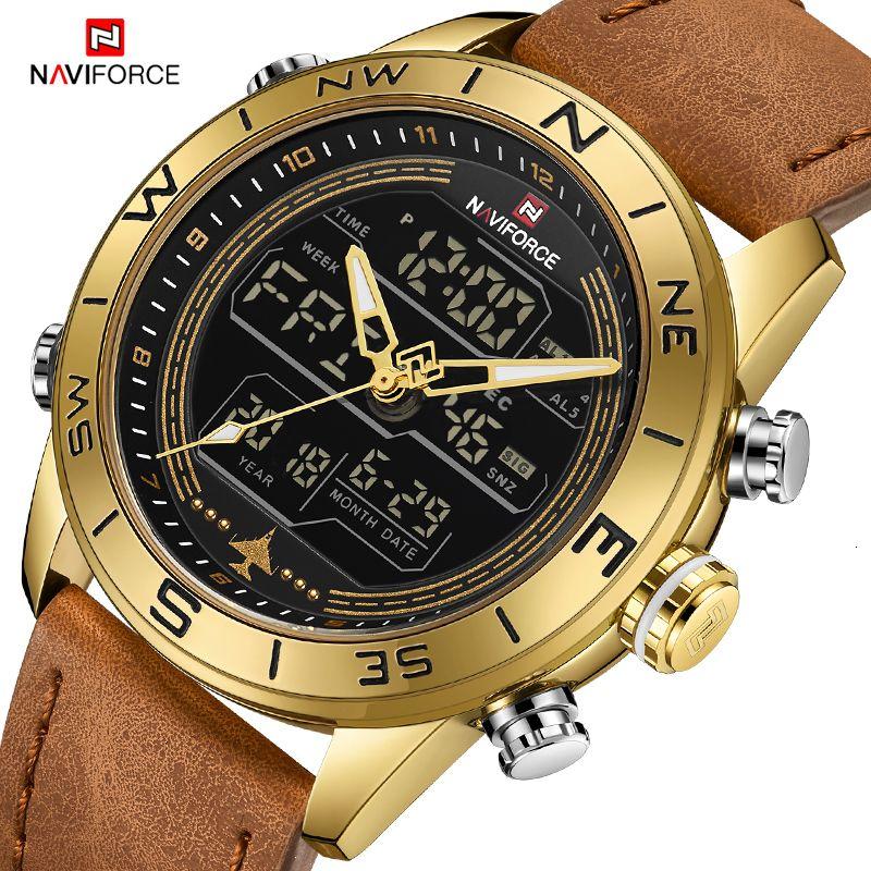 Luxe Marque Hommes NAVIFORCE 9144 Or Armée militaire Montre Led numérique sport en cuir Montres Quartz Hommes Horloge Relogio Masculino V191116