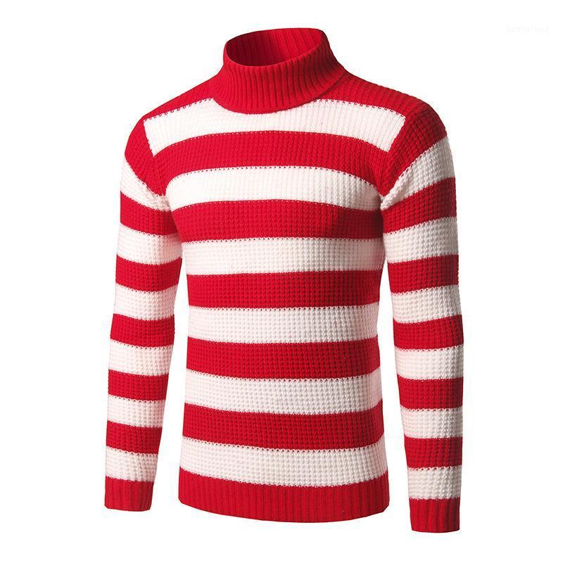Uomo a righe Collo Maglioni Blu Bianco Rosso Nero classico di modo maglioni invernali casual Pullover 3XL1