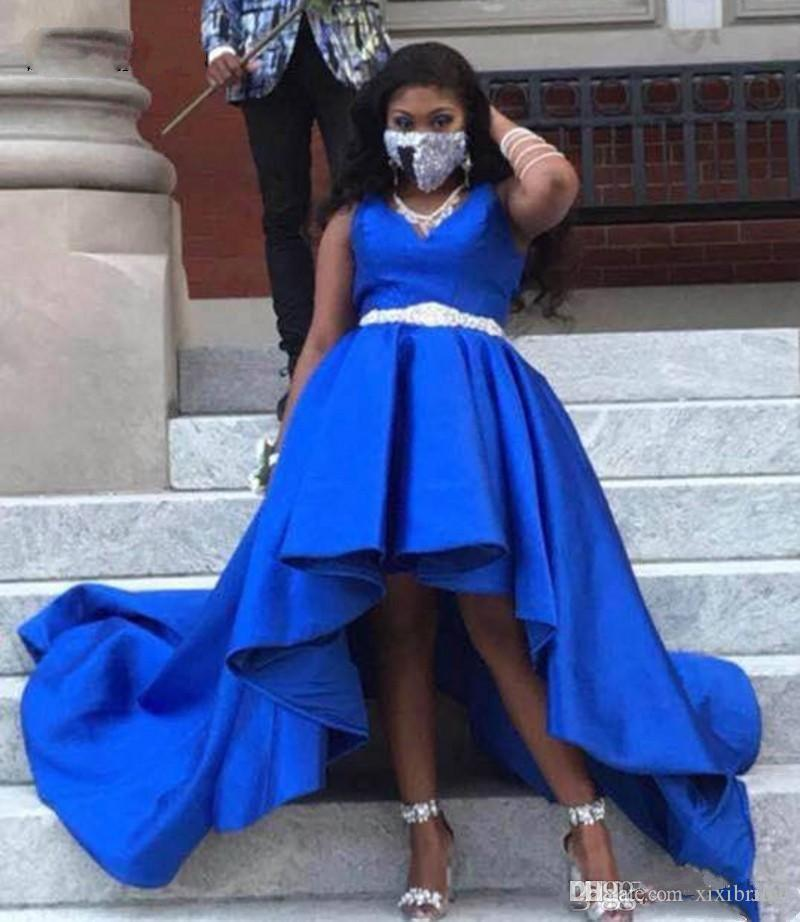 African High Low Prom Dresses 2019 Royal Blue Party Gowns V Neck Black Girls Satin Dress With Beaded Sash Plus Size