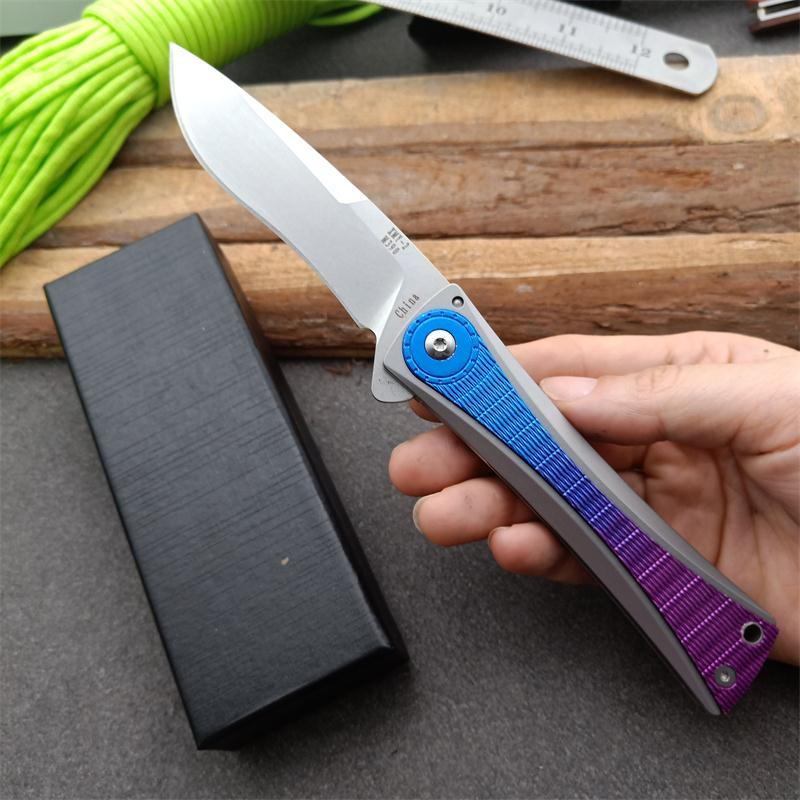 Hızlı Flipper Katlama Bıçak D2 Taş Yıkama Bırak Pint Blade T6-6061 + Paslanmaz Çelik Kol EDC Cep Bıçakları Rulman nakliye