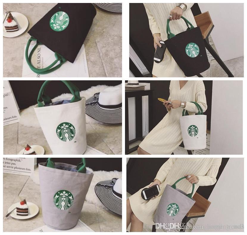 ستاربكس طباعة سيدة قماش حمل حقيبة يد حقيبة برميل الشكل الكتف حقيبة تسوق حقيبة تسوق LJJK958