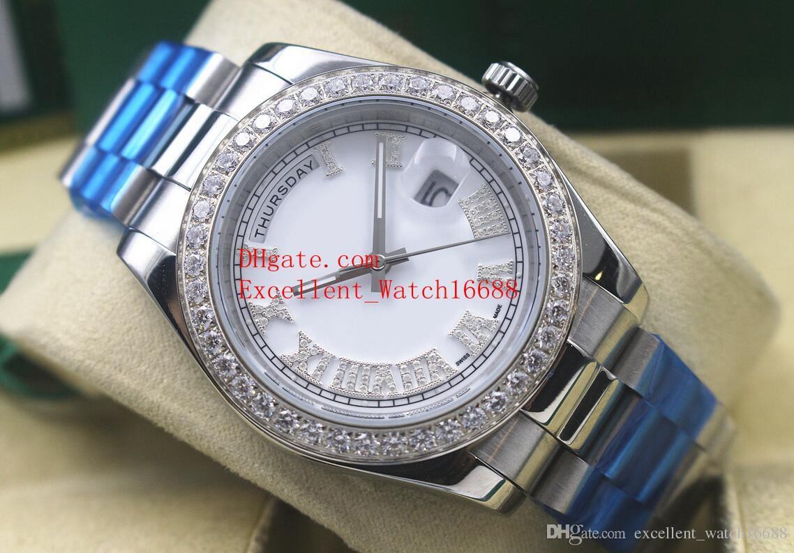 10 Hot Sell Mens montres 41 mm 218238 228239 228235 228345 118388 Date Président en acier inoxydable lunette sertie de diamants cadran asiatique asiatique 2813 Automa