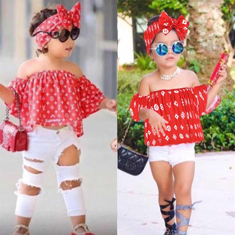 baby girl kids clothes Set 2 styles Fashion Bow hairband+A word shoulder Top+hole Pant 3 pcs set Kids Designer Clothes Girls EJY315
