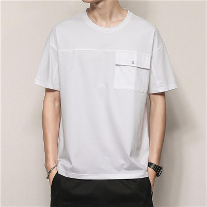 Designer Ins Moda curta camiseta New mola solta em torno do pescoço meia luva T-shirt Homens de Bolso Retrato Tops impressa Men Cotton T-shirt Tees