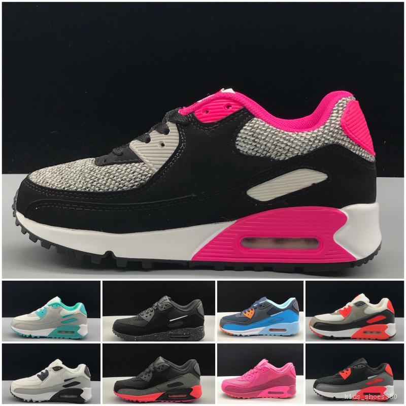 Nike air max 90 Кроссовки обувь классический мальчик девочка дети дети кроссовки черный красный белый спортивный тренер воздушная подушка поверхность дышащая спортивная обувь