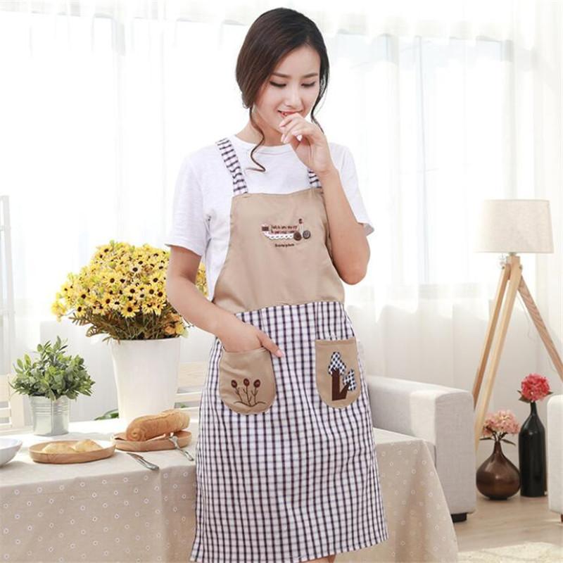 주방 자수 코튼 민소매 스트랩 스타일 홈 한국어 귀여운 패션 앞치마 방오 오일 작업 앞치마 쿡 앞치마