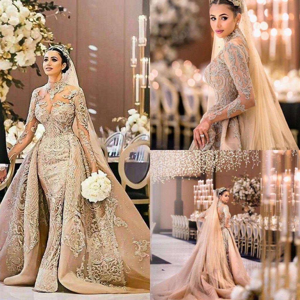 2020 vestidos de boda árabe Desigh de cuello alto sirena con el vestido de novia desmontable tren de lujo de manga larga con cuentas de encaje más el tamaño de Dubai
