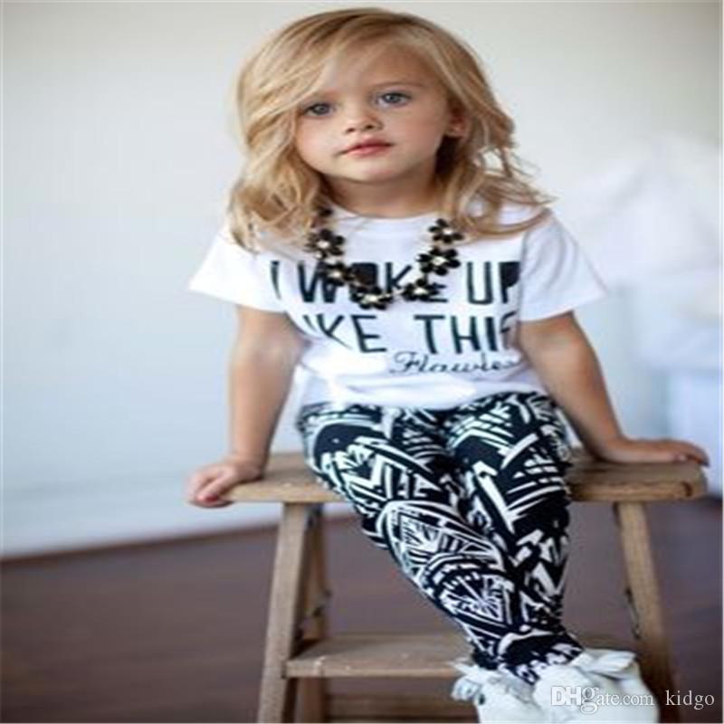Traje de Niña Me Desperte Ropa Para Bebes 2 Piezas Blusa 1 a 6 Años Pantalon