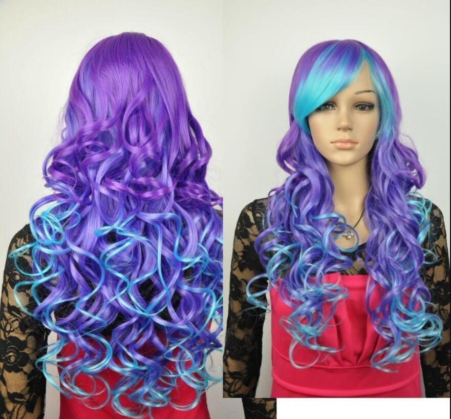 WIG Hot heat resistant Party hair>>Cos purple and blue mix long curly cosplay wig