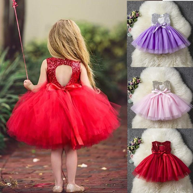Princess Baby Fancy Wedding Sequins Formal Party Dress For Girl Tutu Kids Clothes Children Backless Designs Dresses MX190724 MX190725