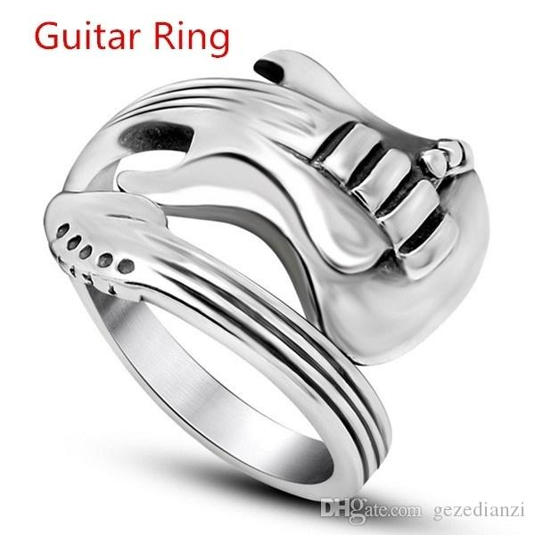 Women Men''s Jewelry Hip Hop & Gothic Punk Rock Stainless Steel Unisex Guitar Ring Black & Silver By Mate Rings Size 7-14