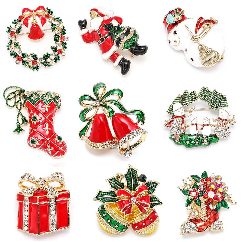 Ano Novo Botas de Natal Moda Broche Papai Noel Shoes Carriage Rhinestone jóias broche de cores de Natal de pedra Broche