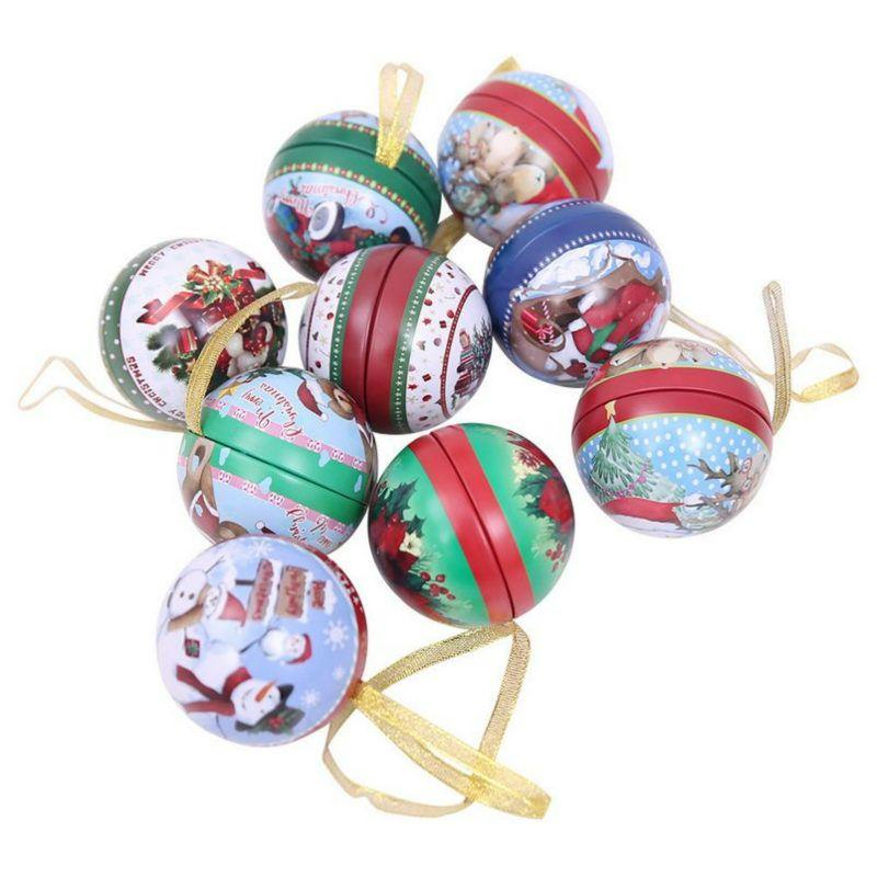 New Christmas Beautiful Round Iron Gift Boxes Wedding Birthday Candy Packing Box Party Favors Giveaway Cracker Case