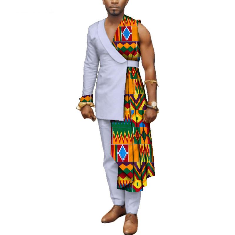 Özel Özel Erkek Afrika Giyim Bazin Riche Patchwork Tek Omuz Üst ve Pantolon% 100 Pamuk 2 adet Pantolon WYN497 ayarlar