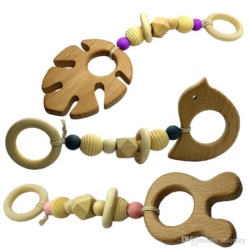 3adet Bebek Gym Hemşirelik Karikatür Hayvan Ahşap diş kaşıyıcınız Silikon Boncuk Teething Ahşap Arabası Oyuncak diş kaşıyıcınız Montessori Çıngırdaklar Chew oyna