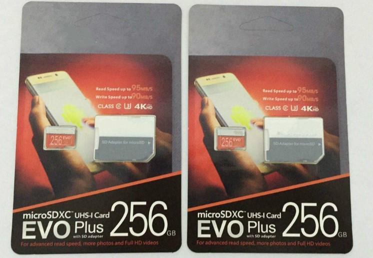 DHL Бесплатная доставка 8GB / 32GB / 64GB / 128GB / 256GB EVO + PLUS Micro SD-карта U3 / смартфон TF CARD CARD C10 / планшетный ПК SDXC Карта для хранения 95 МБ / с